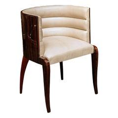 Petite Art Deco Vanity Chair, Macassar Veneer, Webbed and Premium Leather