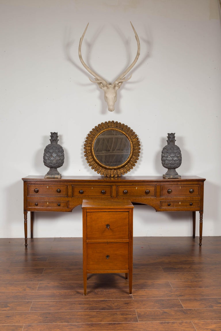 19th Century Petite Austrian 1840s Biedermeier Period Walnut Commode with Two-Drawers For Sale