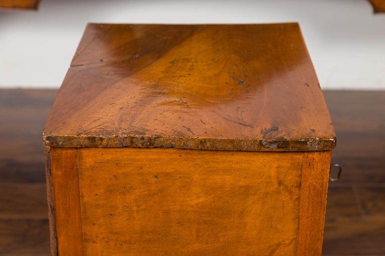 Petite Austrian 1840s Biedermeier Period Walnut Commode with Two-Drawers For Sale 4