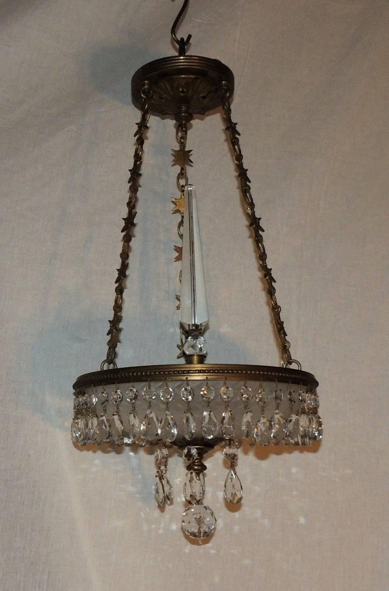 Empire Petite Baltic French Dore Bronze Star Frosted Crystal Chandelier Fixture Pendent For Sale