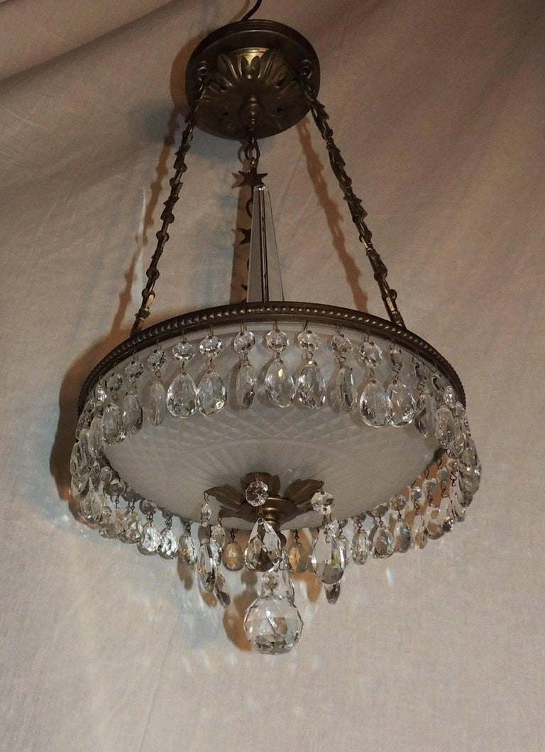 Petite Baltic French Dore Bronze Star Frosted Crystal Chandelier Fixture Pendent For Sale 2