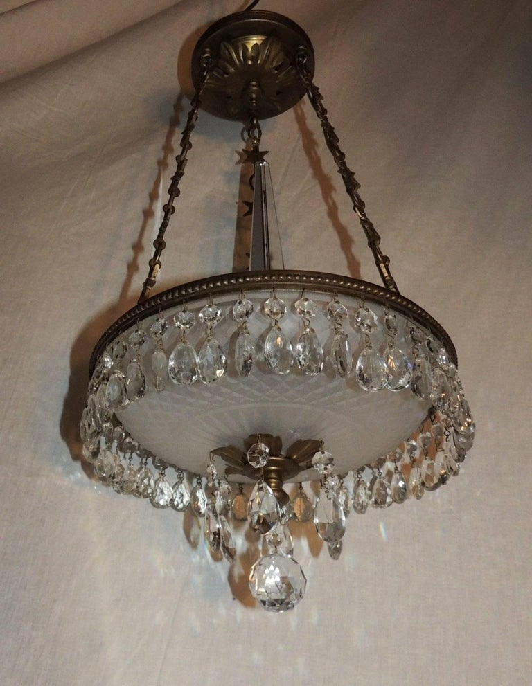 Petite Baltic French Dore Bronze Star Frosted Crystal Chandelier Fixture Pendent For Sale 3