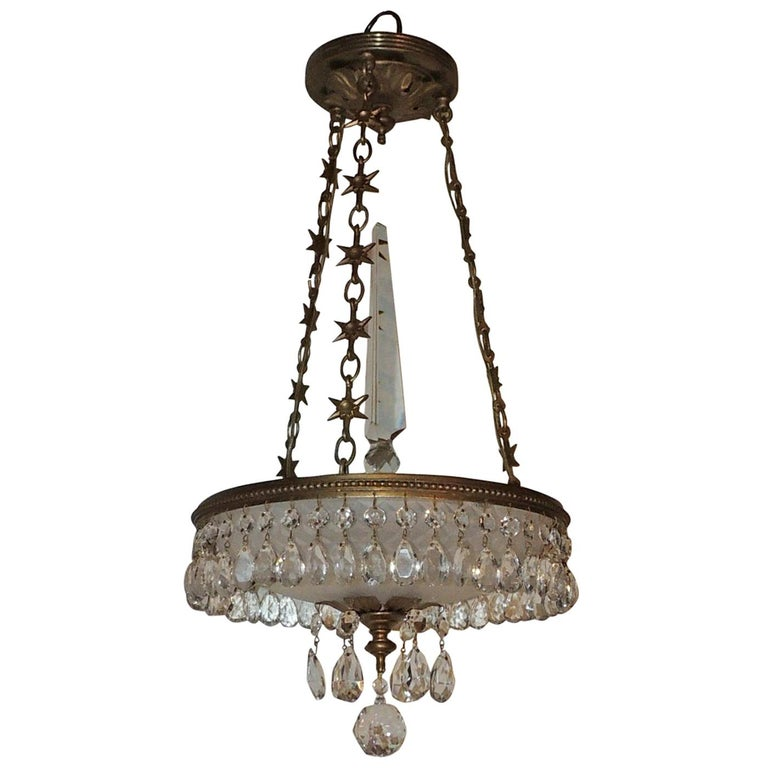 Petite Baltic French Dore Bronze Star Frosted Crystal Chandelier Fixture Pendent For Sale