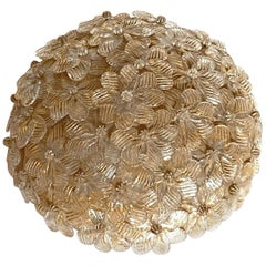Petite Barovier Toso Flushmount Murano Glass Gold and Ice Flowers Basket, 1950s