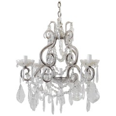 Petite Beaded Arm Silver Finish Chandelier