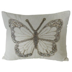 "Petite Beaded ""Butterfly"" White Linen Decorative Pillow by Kim Seybert"