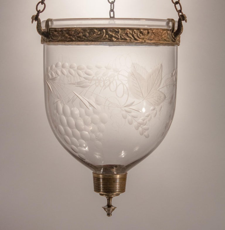 Petite Bell Jar Lantern with Grape Leaf Etching For Sale 4