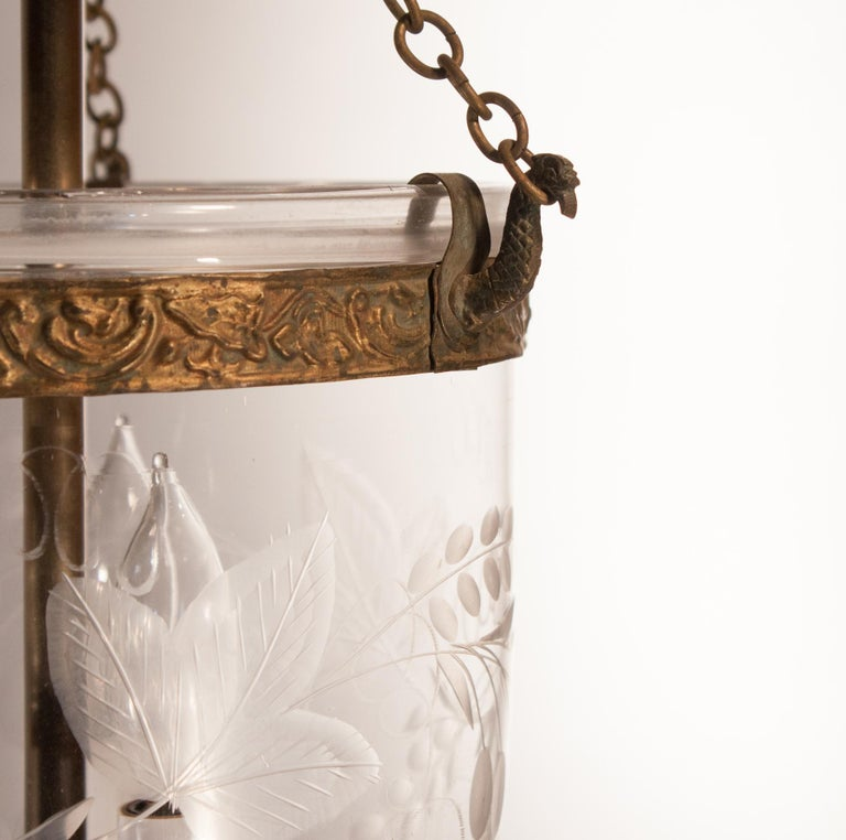 19th Century Petite Bell Jar Lantern with Grape Leaf Etching For Sale