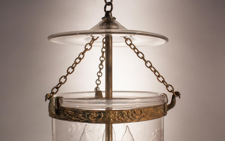 Brass Petite Bell Jar Lantern with Grape Leaf Etching For Sale