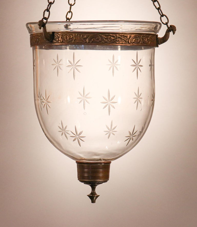 Petite Bell Jar Lantern with Star Etching For Sale 3