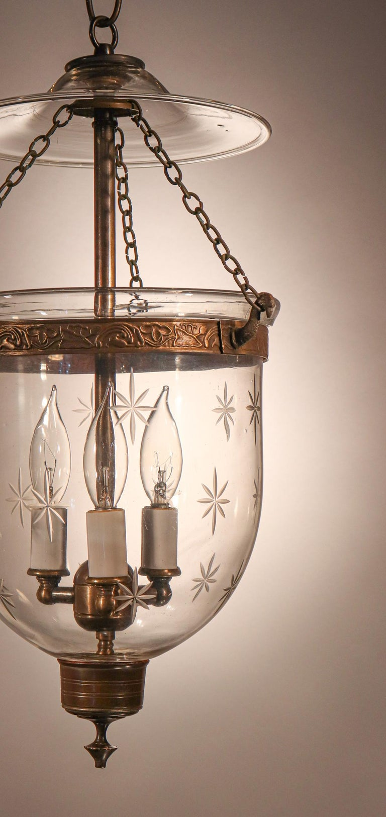 High Victorian Petite Bell Jar Lantern with Star Etching For Sale