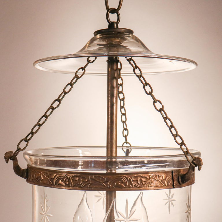 English Petite Bell Jar Lantern with Star Etching For Sale