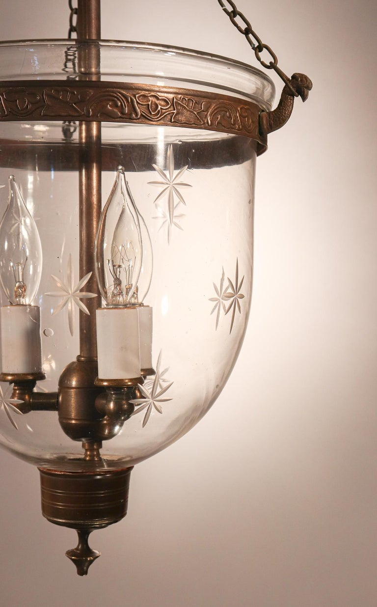 Etched Petite Bell Jar Lantern with Star Etching For Sale