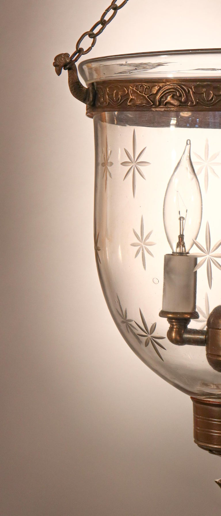 Petite Bell Jar Lantern with Star Etching In Good Condition For Sale In Heath, MA