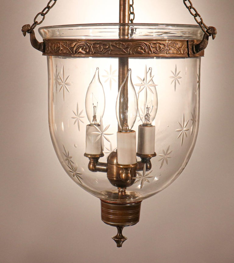 19th Century Petite Bell Jar Lantern with Star Etching For Sale