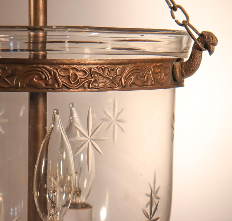 Blown Glass Petite Bell Jar Lantern with Star Etching For Sale