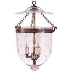 Petite Bell Jar Lantern with Trellis Etching