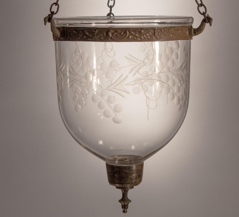 Petite Bell Jar Lantern with Vine Etching For Sale 4