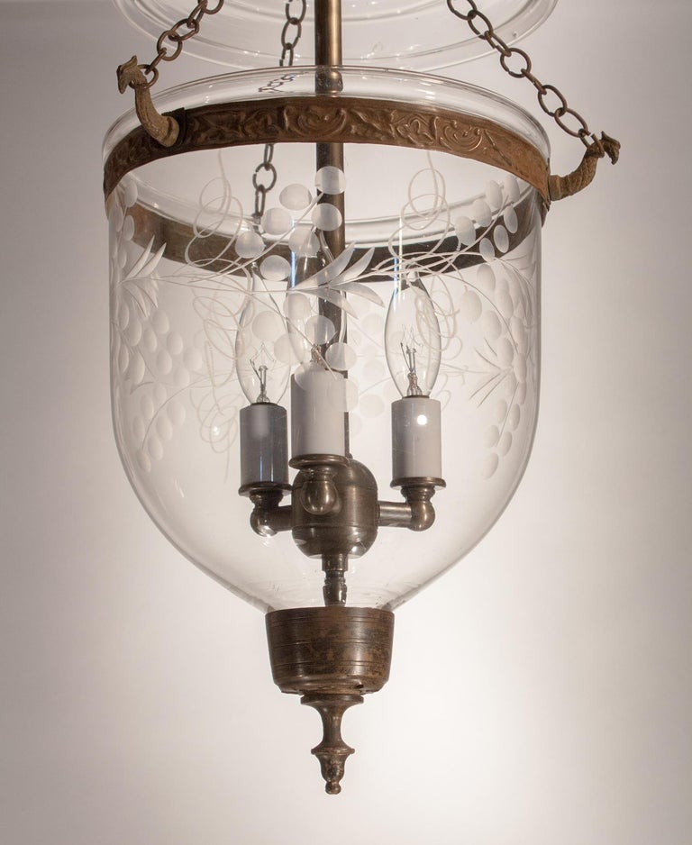 High Victorian Petite Bell Jar Lantern with Vine Etching For Sale