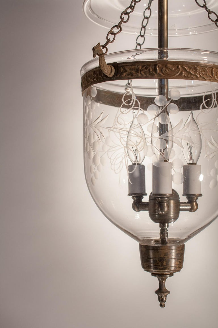 English Petite Bell Jar Lantern with Vine Etching For Sale