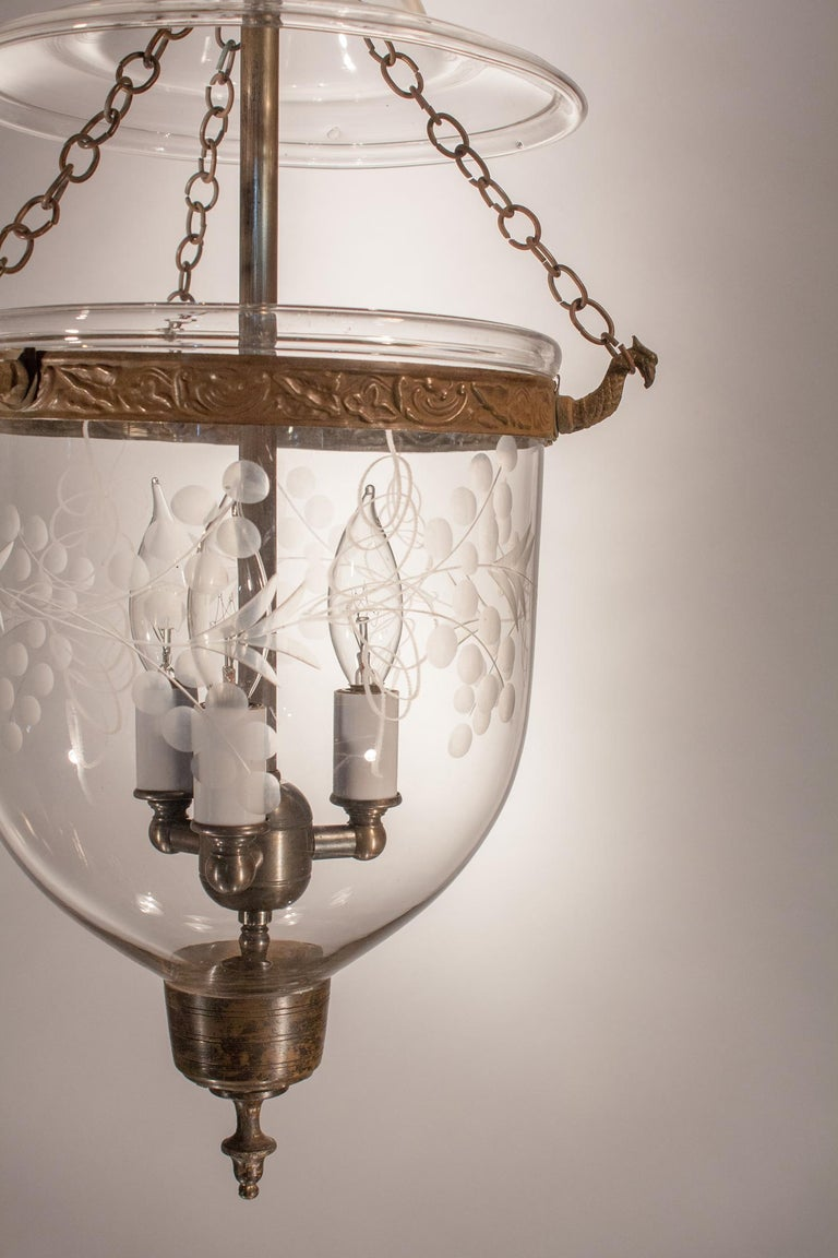 Embossed Petite Bell Jar Lantern with Vine Etching For Sale