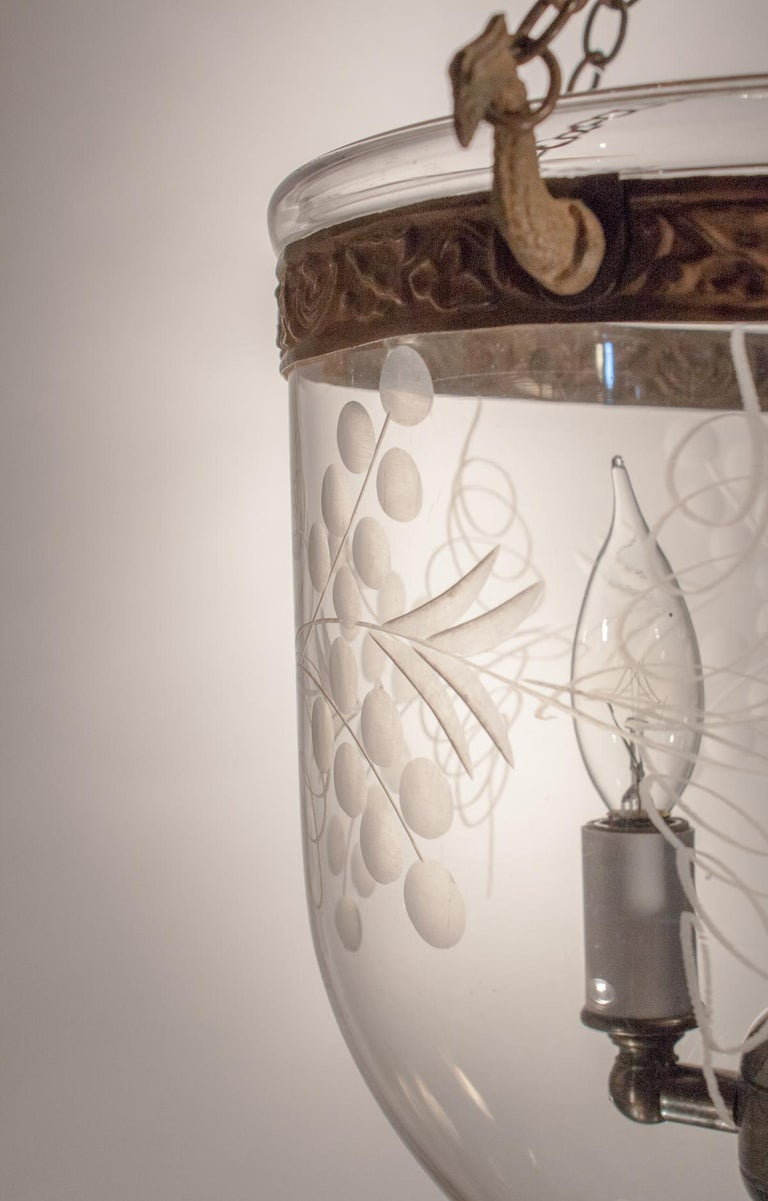 Petite Bell Jar Lantern with Vine Etching In Good Condition For Sale In Shelburne Falls, MA