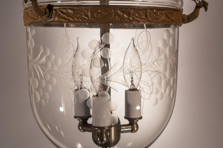 19th Century Petite Bell Jar Lantern with Vine Etching For Sale