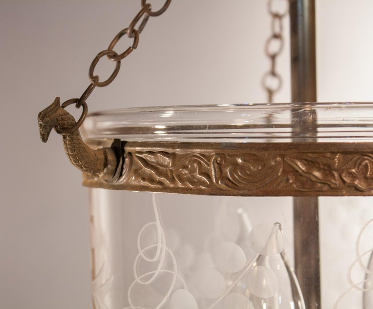 Brass Petite Bell Jar Lantern with Vine Etching For Sale