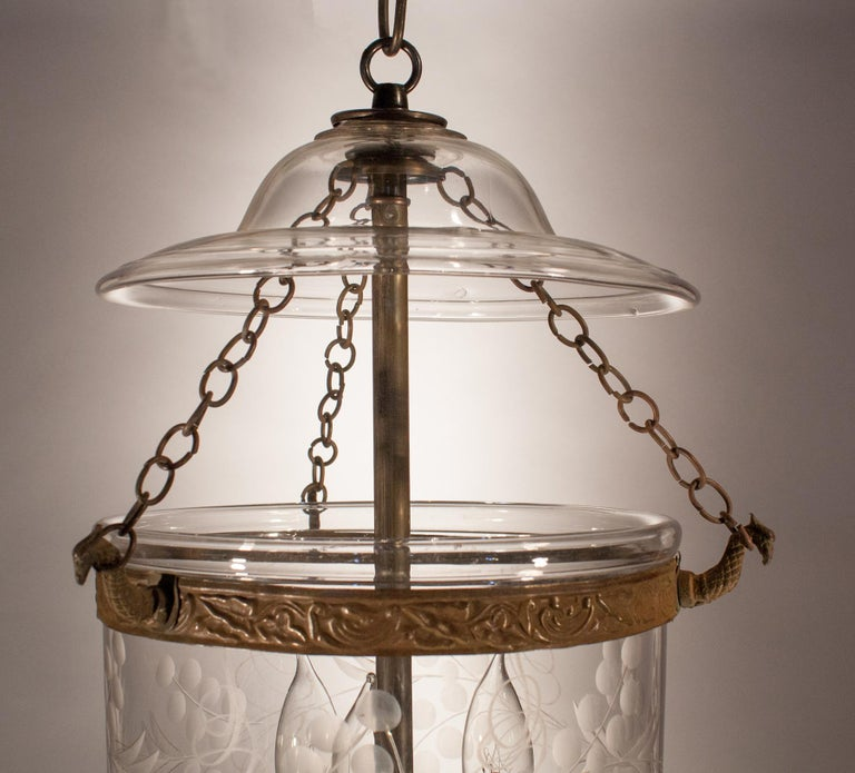 Petite Bell Jar Lantern with Vine Etching For Sale 1