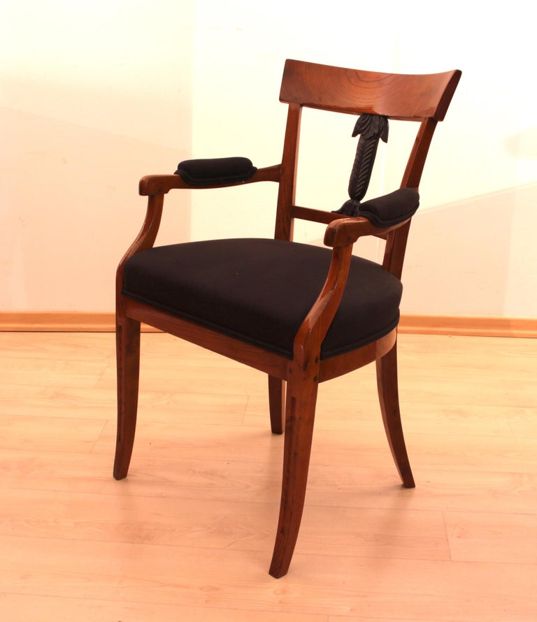 Petite Biedermeier Armchair, Ashwood, Carved Decor ...