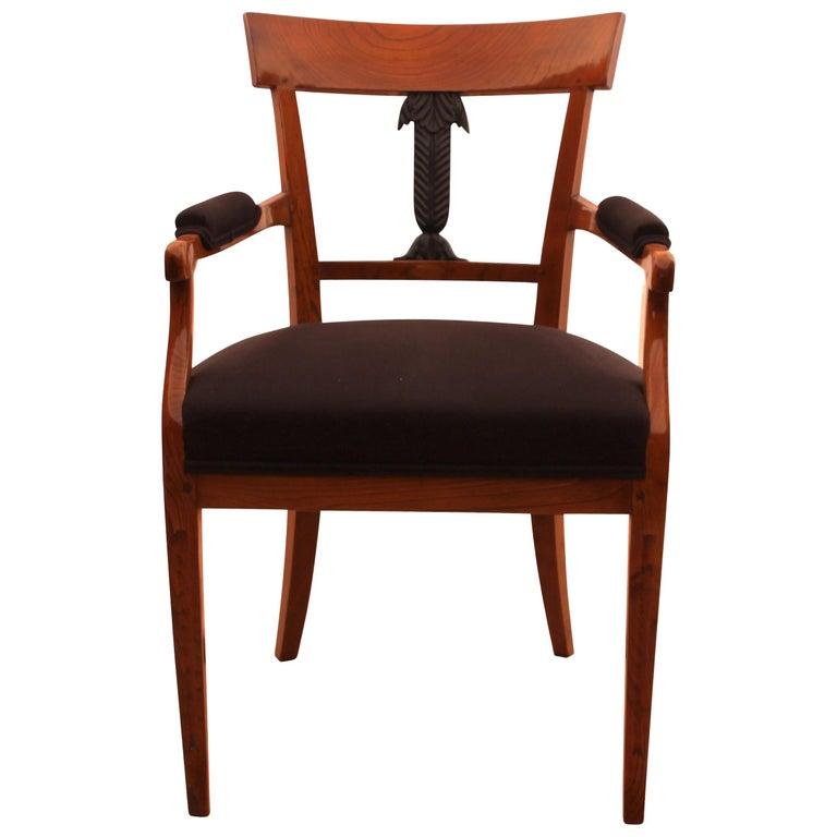 Kleiner Biedermeier Sessel Esche Geschnitzter Dekor Deutschland