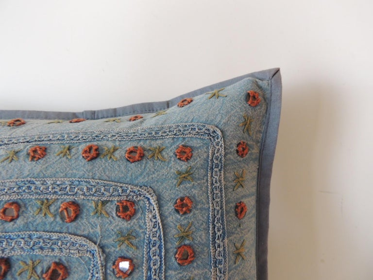 Bohemian Petite Blue and Orange Mirror Sequins Embroidered Indian Pillow For Sale