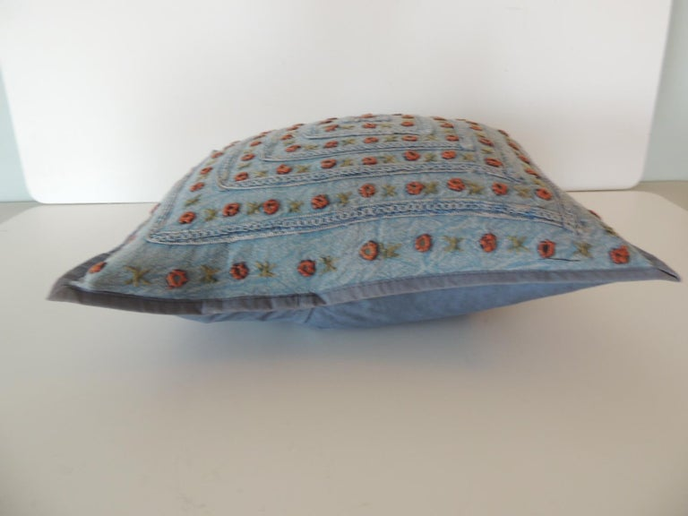 Hand-Crafted Petite Blue and Orange Mirror Sequins Embroidered Indian Pillow For Sale
