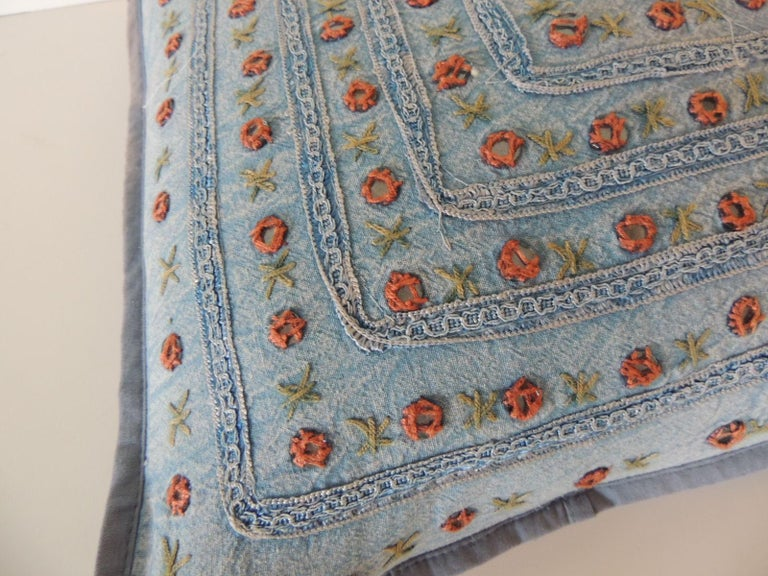 Petite Blue and Orange Mirror Sequins Embroidered Indian Pillow In Good Condition For Sale In Oakland Park, FL