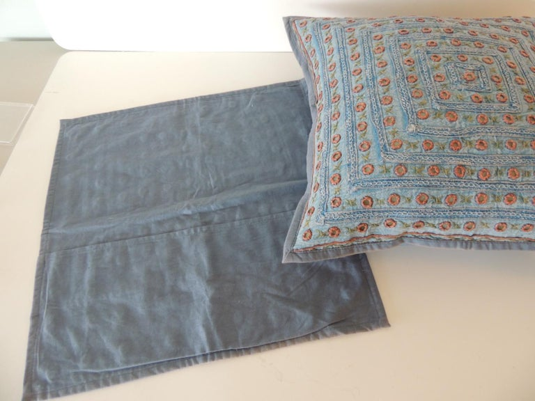 Late 20th Century Petite Blue and Orange Mirror Sequins Embroidered Indian Pillow For Sale