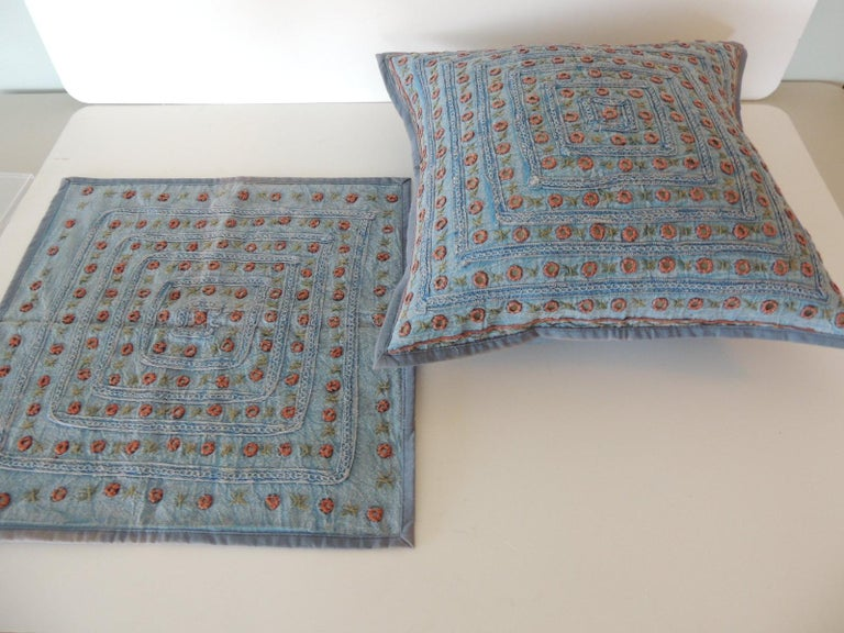 Petite Blue and Orange Mirror Sequins Embroidered Indian Pillow For Sale 1