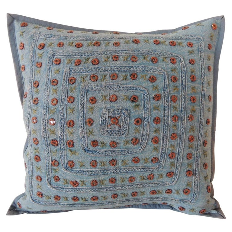 Petite Blue and Orange Mirror Sequins Embroidered Indian Pillow For Sale