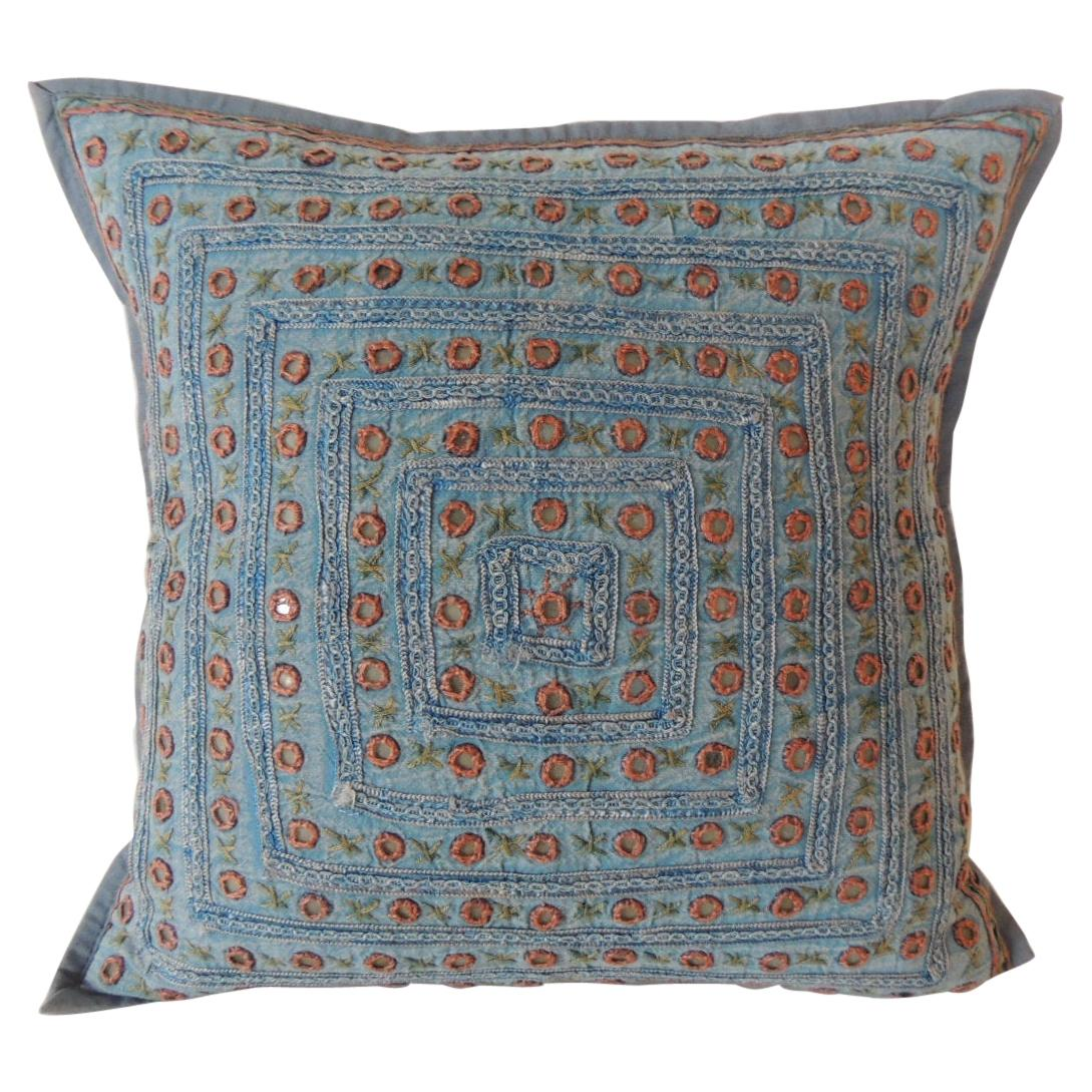 Petite Blue and Orange Mirror Sequins Embroidered Indian Pillow