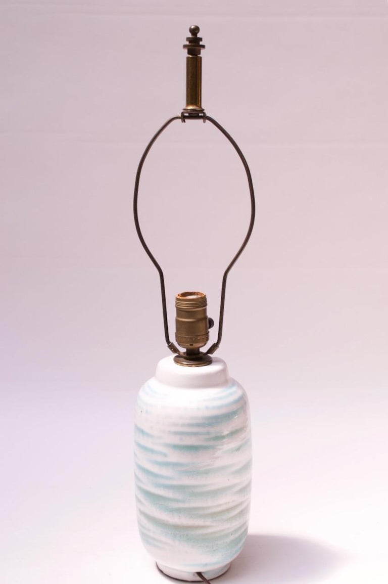 American Petite Blue and White Ceramic Table Lamp by Lee Rosen for Design Technics For Sale