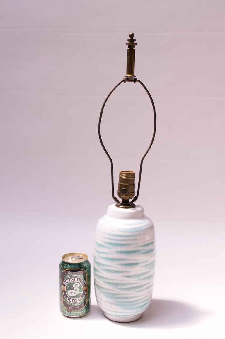 Mid-20th Century Petite Blue and White Ceramic Table Lamp by Lee Rosen for Design Technics For Sale