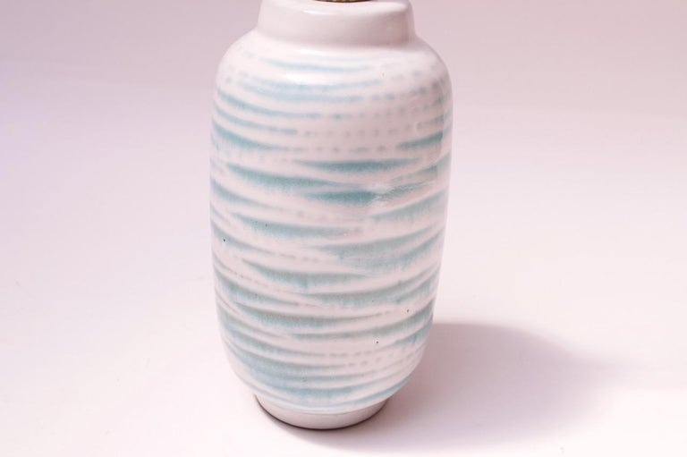 Petite Blue and White Ceramic Table Lamp by Lee Rosen for Design Technics For Sale 1