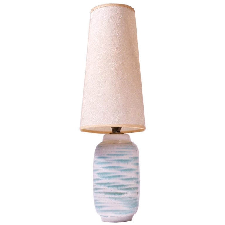Petite Blue and White Ceramic Table Lamp by Lee Rosen for Design Technics For Sale