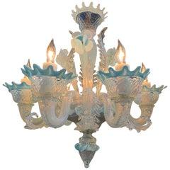 Petite Blue Murano Glass Chandelier