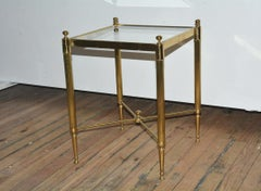 Petite Brass and Glass Maison Jansen Style Side Table