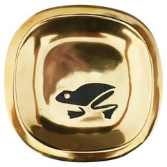 Petite Brass Dish with Frog Motif by Los Castillo