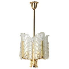Petite Carl Fagerlund for Orrefors Petite Chandelier Murano Glass Leaves, 1960s