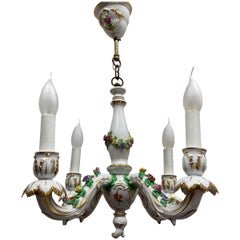 Petite Chandelier Hand Painted and Gilded Porcelain, circa 1940