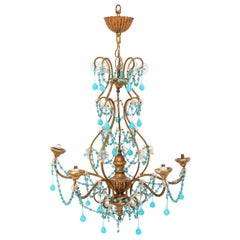 Petite Chandelier with Blue and Clear Crystal