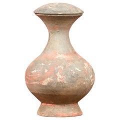 Petite Chinese Han Terracotta Lidded Jar with Original Paint circa 202 BC-200 AD