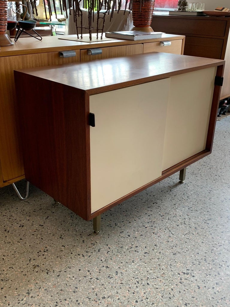 Wood Petite Classic Knoll Credenza in Walnut and Cream  For Sale